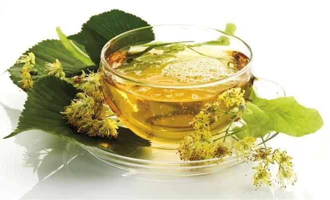 Lime blossom tea, close-up